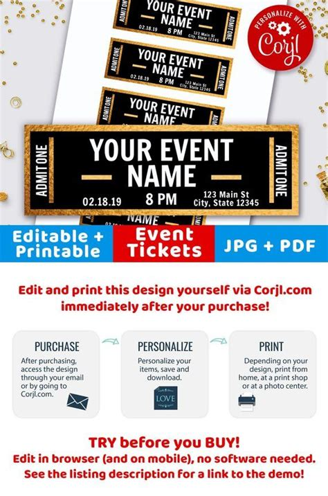 gold event ticket printables editable event