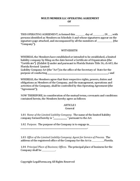 Florida Llc Operating Agreement Sle Operating Agreement
