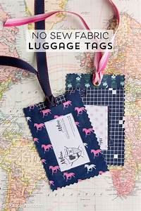 diy fabric luggage tags no sew the polka dot chair With homemade tags for sewing