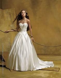 ivory silk satin strapless ballgown with jeweled bridal belt With silk satin wedding dress