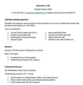 Cna Resume Template by Cna Resume Tips Exles Cna Free