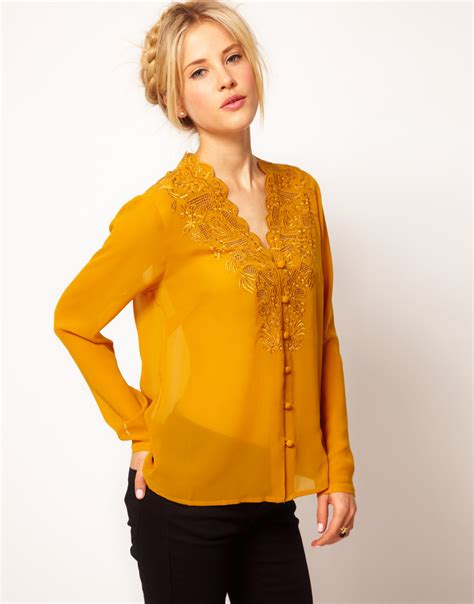 mustard blouse asos collection asos blouse with embroidery and cutwork in