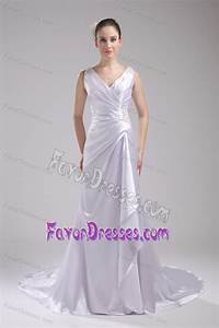 popular column v neck bridal gown dress with ruching and With low cost wedding dresses