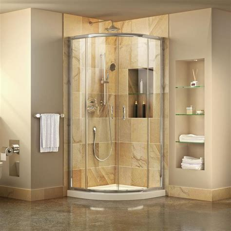 Acrylic Shower Enclosures by Shop Dreamline Prime White Acrylic Floor Round 2 Piece