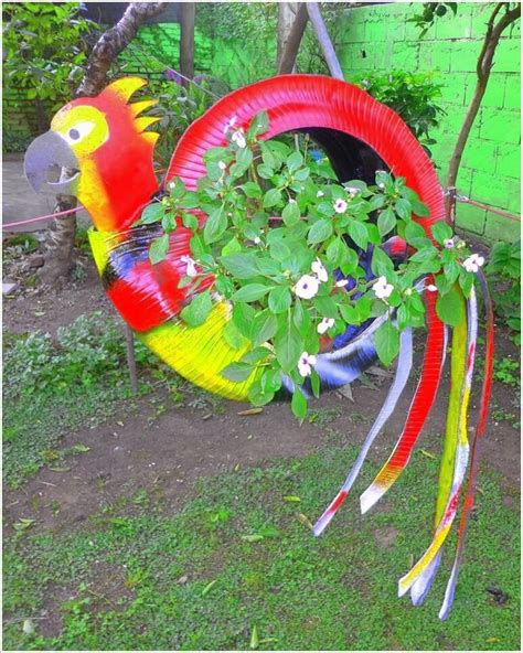 colorful garden crafts     tires