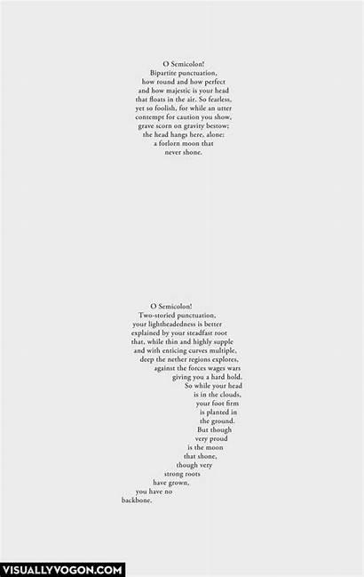 Poem Concrete Poems Semicolon Poetry Shape Quotes