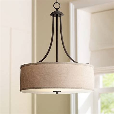 pendant light shades for kitchen la pointe 19 1 2 quot wide oatmeal linen shade pendant light 7399