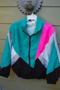 80 s Neon Retro Nylon Workout Windbreaker Jacket