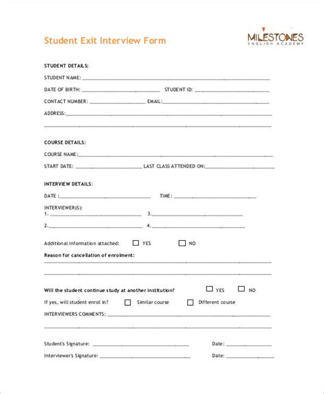 Exit Forms Templates by Exit Form 9 Free Pdf Word Documents