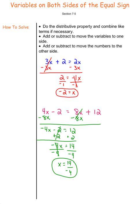 solving equations with variables on both sides 7th grade pre algebra mr burnett