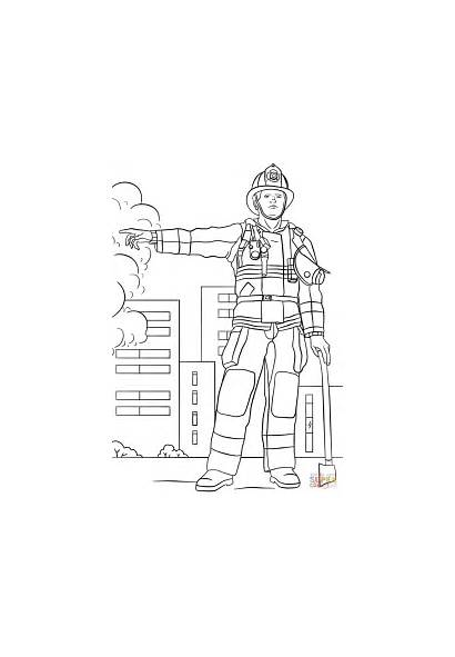 Firefighter Fireman Coloring Pages Printable Colouring Fire