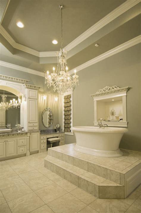large elegant bathroom love  steps    tub