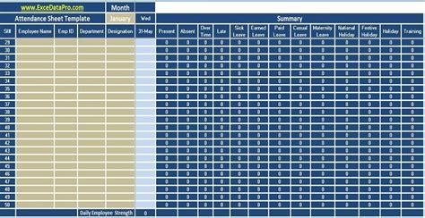 employee attendance sheet excel template