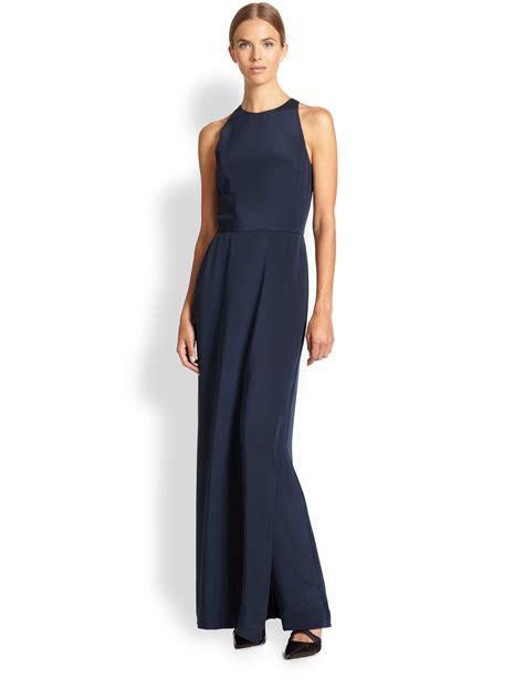 s dress jumpsuits tamara mellon silk jumpsuit dress in blue lyst