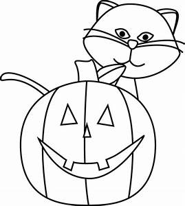 Black and White Cat and Jack-O-Lantern Clip Art - Black ...