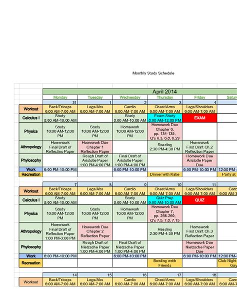au pair daily schedule template sle monthly study schedule marine science pinterest