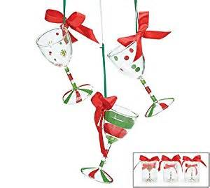 amazon com hand blown wine glass christmas tree ornaments set of 3 home kitchen