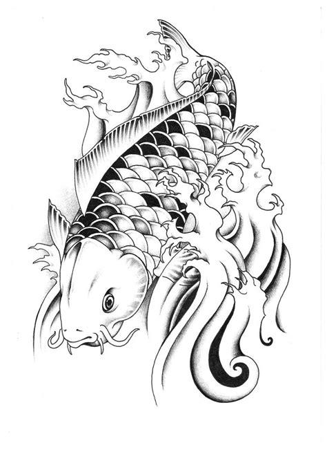 Black-and-white koi fish tattoo design by Unicycle Babyguy