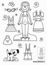 Paper Coloring Crafts Dolls Sheets sketch template