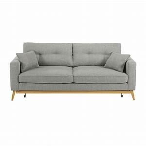 canape convertible scandinave 3 places en tissu gris clair With canapé 3 places convertible maison du monde