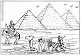 Pyramids Coloring Egyptian Egypt Giza Hellokids sketch template