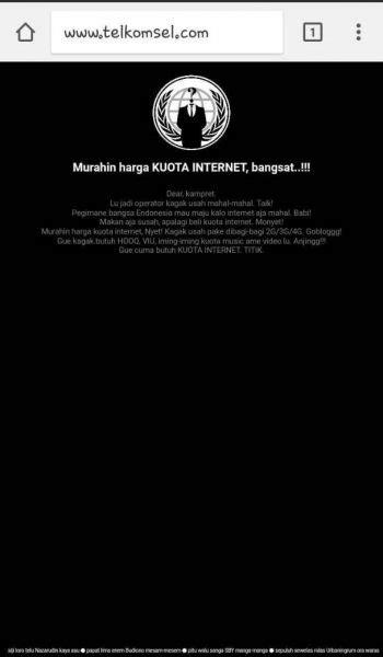 Situs Telkomsel Diretas, Hacker Lontarkan Kata-kata Kasar
