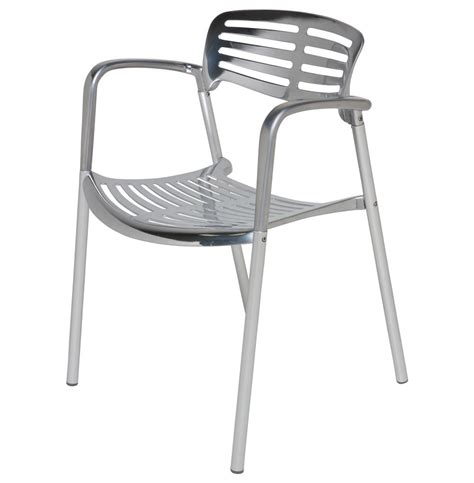 ginny chrome metal modern slatted cafe dining arm chair