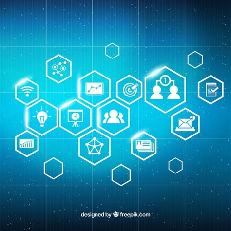 Digital Marketing Background With Shiny Icons Vector
