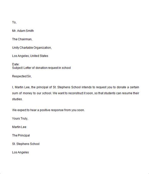 Donation Letter Template For Schools 9 sle donation request letters for free