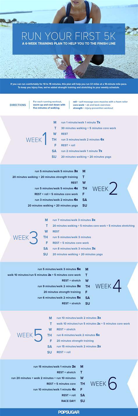 to 5k schedule 5k plan for beginners popsugar fitness
