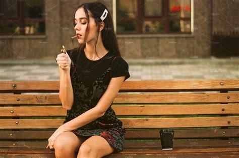 stylish girl smoking cigarette high quality people
