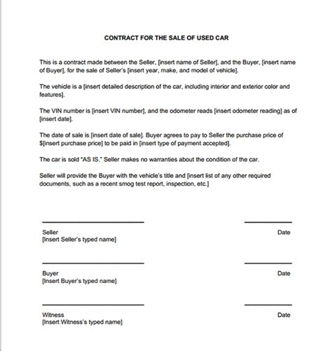 car sales contract sample contracts