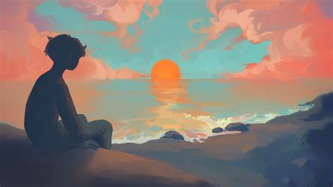 1920x1080 Anime Boy Sitting Watching Sunset Laptop Full Hd 1080p Hd 4k Wallpapers Images
