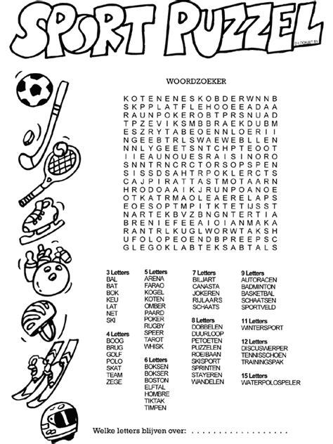 Kleurplaat Woorden by Kleurplaat Sportpuzzel Woordzoeker Kleurplaten Nl