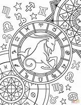 Zodiac Coloring Capricorn Sign Pages Signs Printable Adult Colouring Aries Star Taurus Therapy Astrology Horoscope Sheets Printables Supercoloring Mandala Colors sketch template