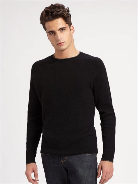 black sweater saks fifth avenue crewneck sweater in black for