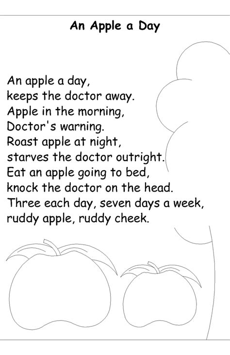 nursery rhyme coloring pages  apple  day