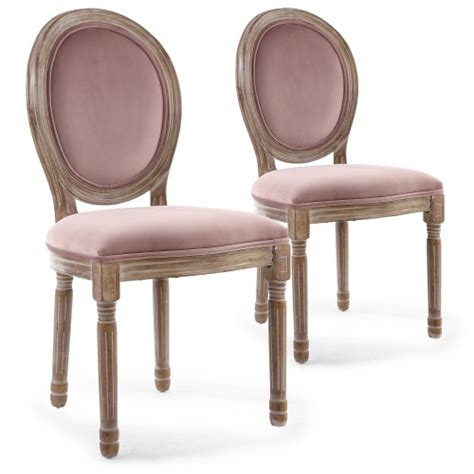 menzzo chaise lot de 2 chaises louis xvi bois patiné velours