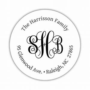 Round return address labels monogram dazzling daisies for Circle return address labels