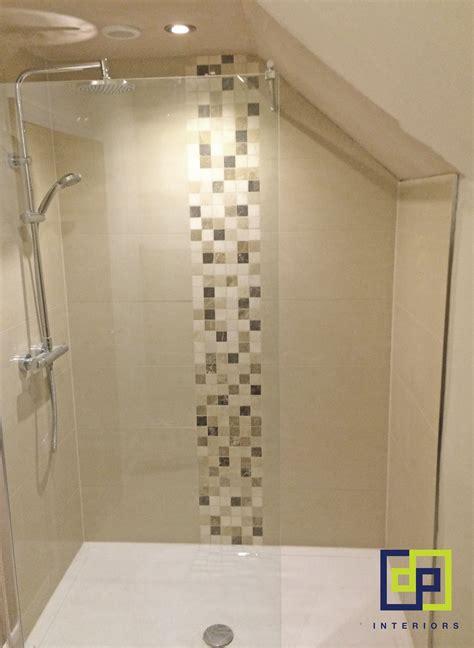 Bathroom Feature Tile by Slanted Ceiling Shower Neutral Colours Feature Tile