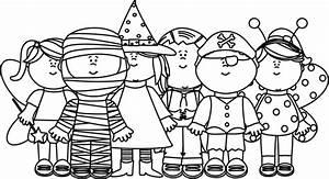 Black and White Halloween Kids Clip Art - Black and White ...