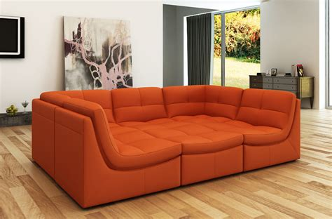New Sectional by Divani Casa 207 Modern Orange Bonded Leather Sectional Sofa