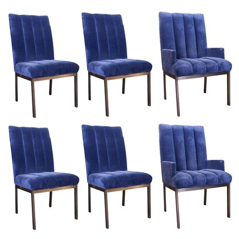 dining room chairs set of 6 set of six velvet dining chairs by dia at 1stdibs