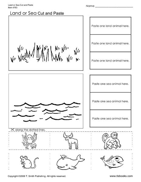 land or sea worksheet for 2nd 3rd grade lesson planet