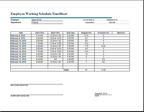 timesheet schedule employee working schedule time sheet word excel templates