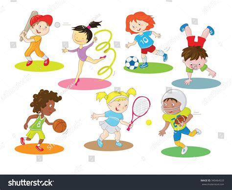 kids  indoor outdoor sports cartoon stock vector
