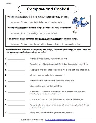 printables  compare  contrast worksheets grade