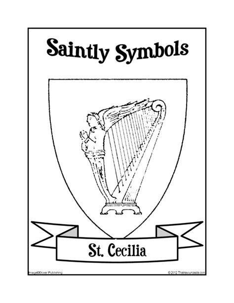 saintly symbols  st cecilia coloring sheet
