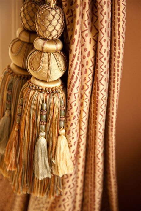 drapery side panels with large tassels tassels