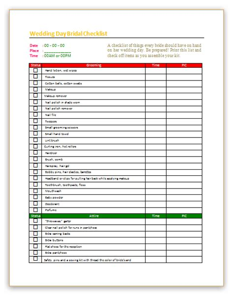 wedding day checklist template  bridal dotxes